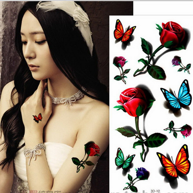 2018 New 42styles Body Painting Glitter 3D Tattoo Butterfly Rose Insect Birds Stickers Temporary Flash Tattoo Disposable Indians