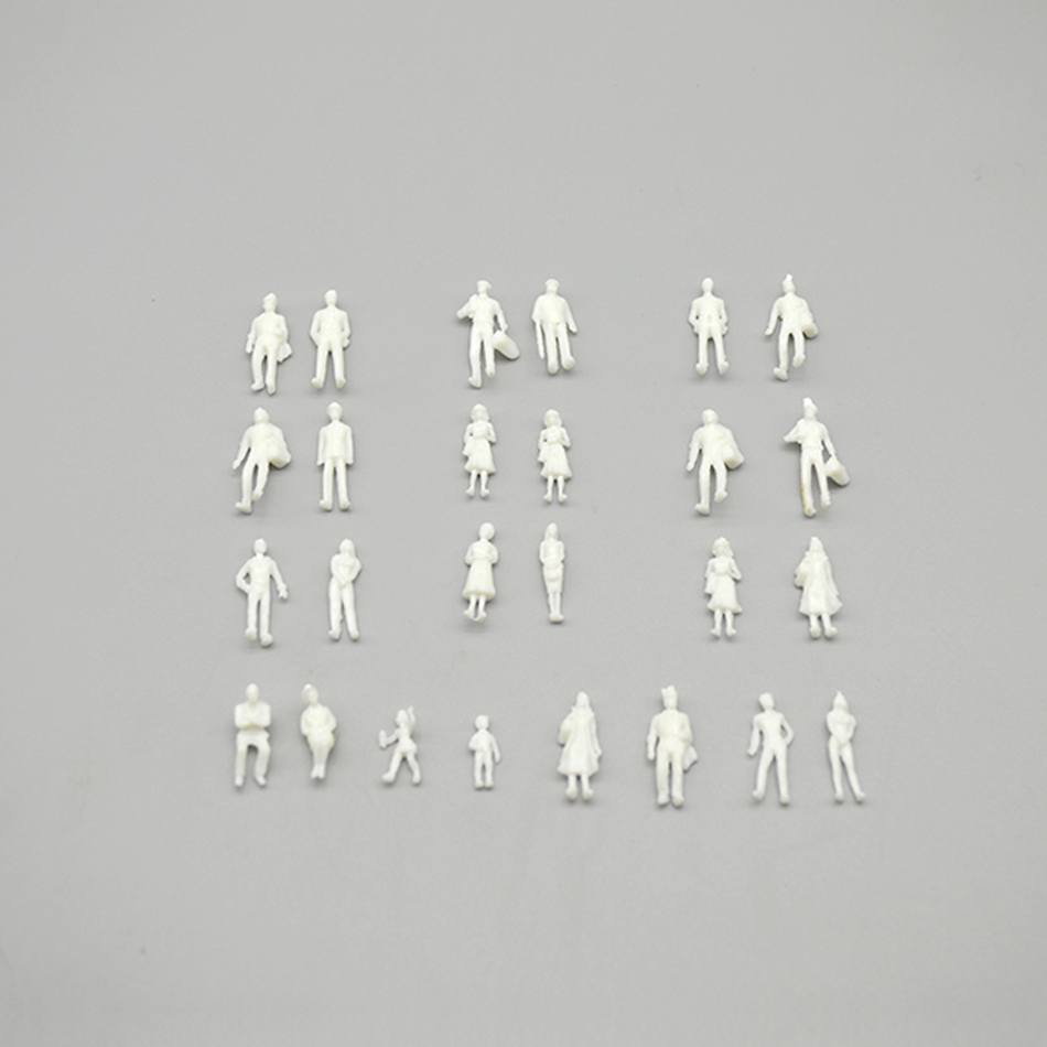 1:100 Scale Model People White Plastic Unpainted Figure  For Architecture Train Layout