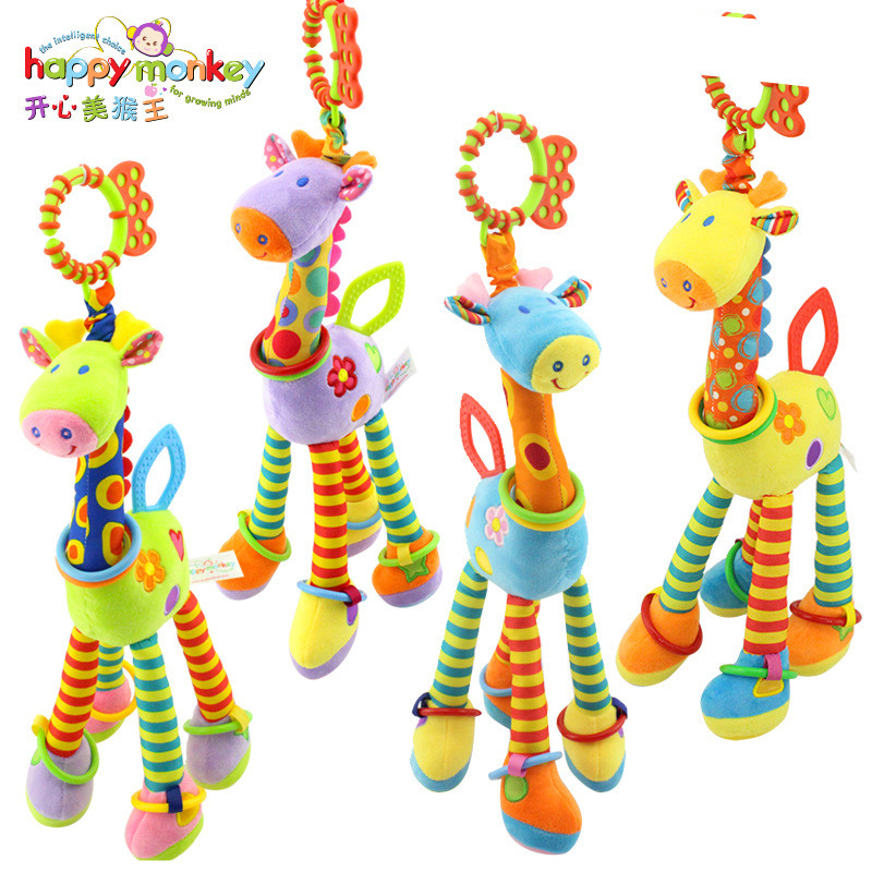Happy Monkey Plush Infant Baby Development Soft Giraffe Animal Handbells Rattles Toys Hot Selling WIth Teether Baby ToyHappy Monkey Plush Infant Baby Development Soft Giraffe Animal Handbells Rattles Toys Hot Selling WIth Teether Baby Toy