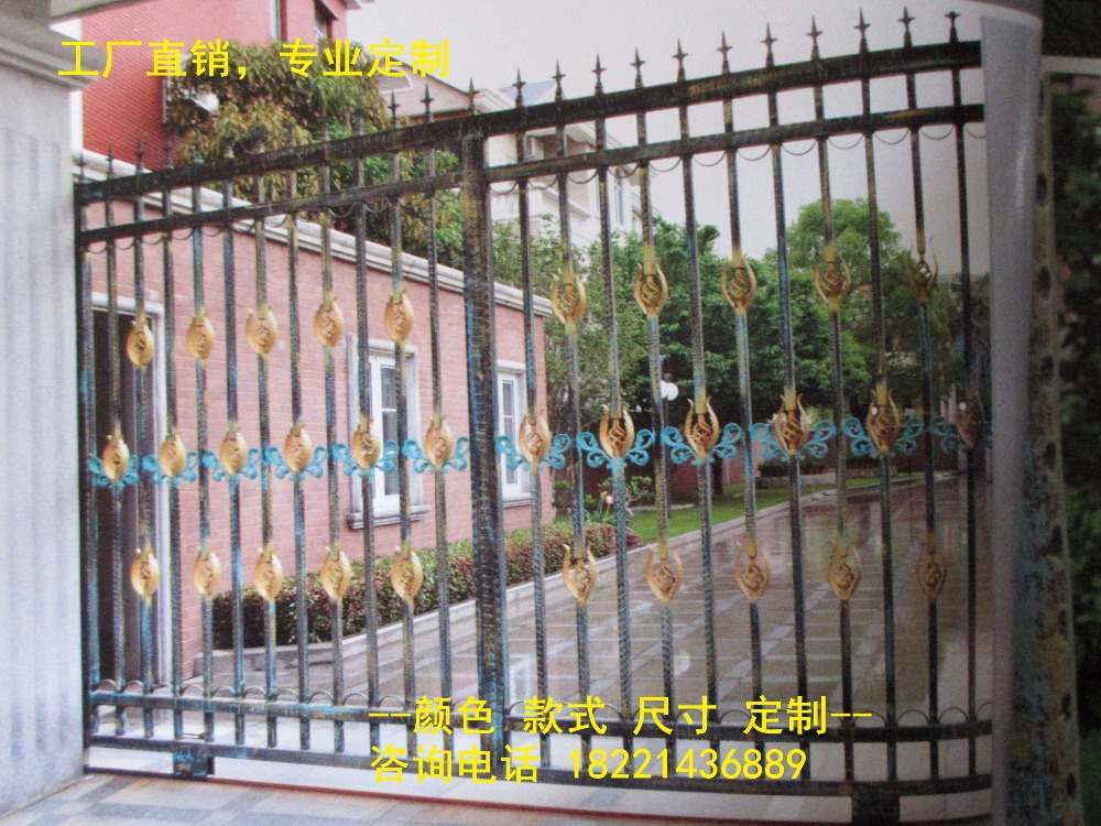 Custom Made Wrought Iron Gates Designs Whole Sale Wrought Iron Gates Metal Gates Steel Gates Hc-g60