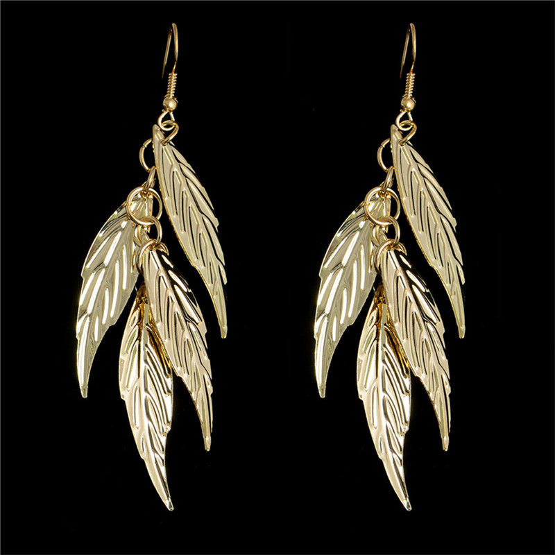 MISANANRYNE New arrivals Womens Earrings 1pair Lucky Leaf Dangle Earrings 2 Colors Available