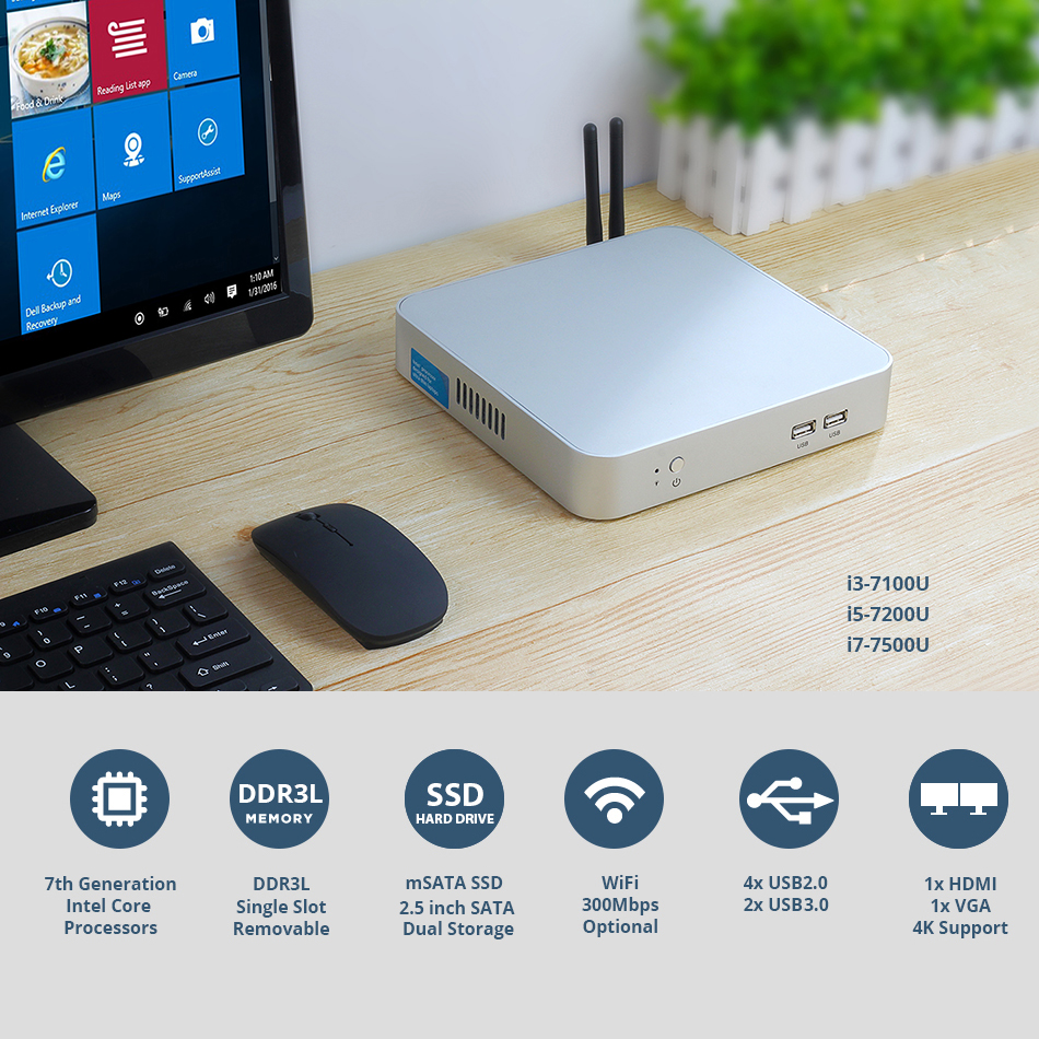 Mini PC Intel Core i7 7500U i5 7200U Prozessor Büro Computer 4K WiFi HDMI VGA 6 * USB Gigabit ethernet Windows 10 Linux HTPC