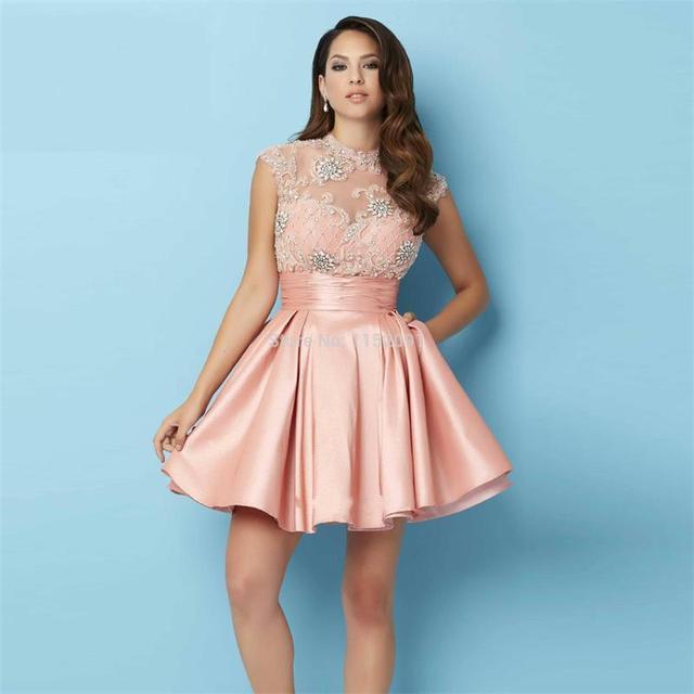 e2629c1793c0 Sweet Dusty Pink Satin High Neck Short Homecoming Dresses 2016 Beaded Top  Sexy Open Back A Line Cute 8th Grade Graduation Dress