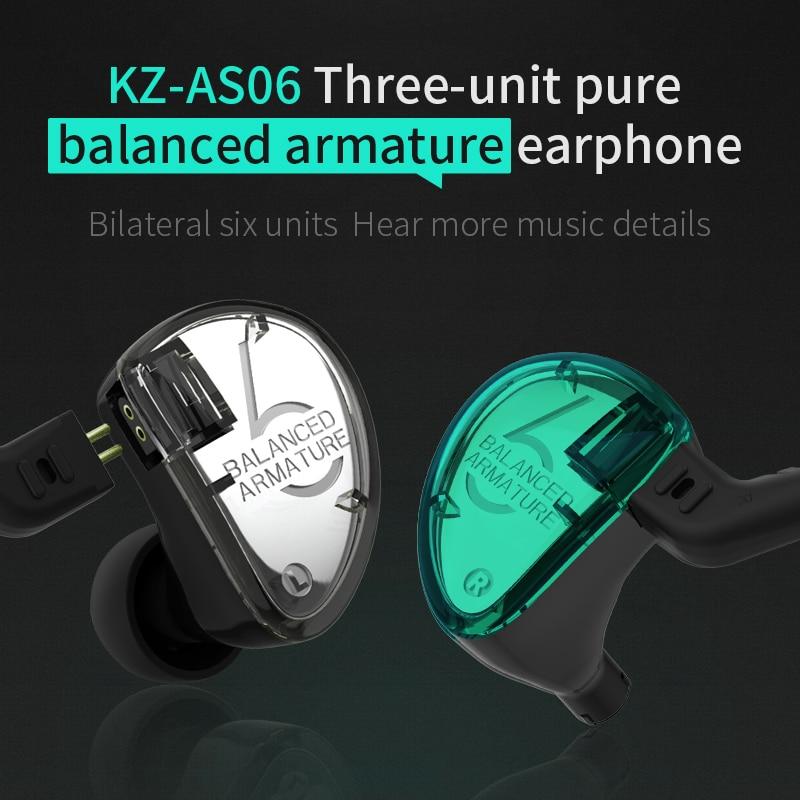 Nouveau KZ AS06 3BA Solde Armature Unité In-Ear Écouteurs Subwoofer casque stéréo pour le sport Antibruit HIFI écouteurs avec micro