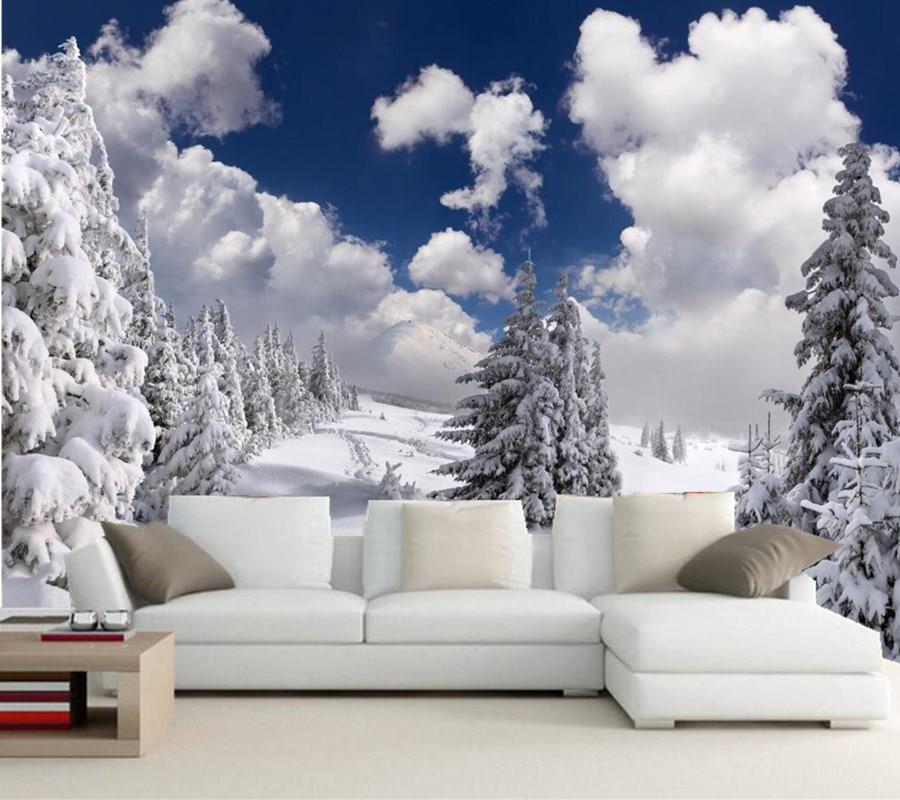 Wallpaper For Living Room 3d Custom Photo Wallpaper Murals Winter Fir Snow Clouds Trees