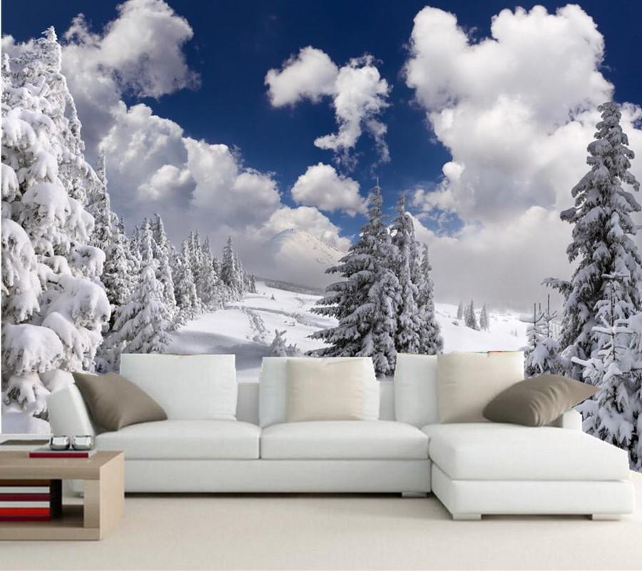 individuelle fototapeten wandmalereien winter fir schnee wolken bume natur papel de parede wohnzimmer tv - Natur Wand Im Wohnzimmer