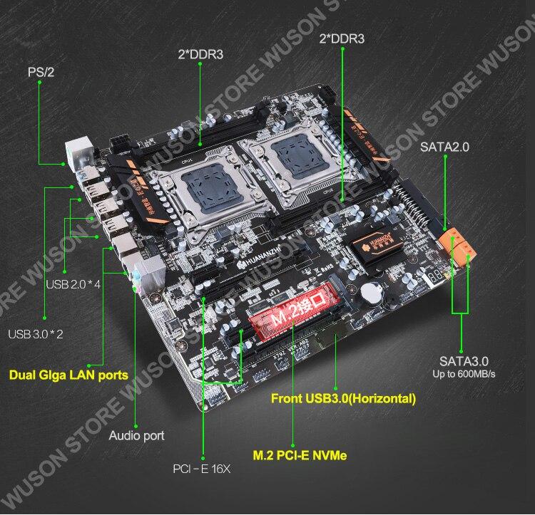 HUANANZHI X79 Dual Processor Motherboard Combo M.2 SSD Slot 2 Xeon E5 2670 6 Tubes CPU Coolers 4*16G 64G RAM RECC Build Computer 2