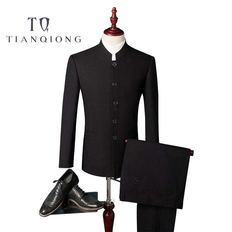 TIAN QIONG cheap Men Formal Business Suits Pants Chinese Tunic Suits Black New Arrival Traditional Mandarin Jacket+Pants S 4XL