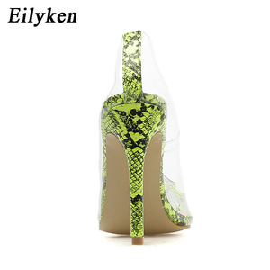Image 4 - Eilyken 2021 nowy Sexy zielony serpentyn pcv przezroczysty kryształ kobiet Sexy pompy wysokie obcasy 12CM Party Dress kobiety pompy buty