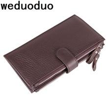 Weduoduo Genuine Leather Men Wallet New Clutch Wallet Brand Luxury Male Purse Double Zipper Wallets Coin Purse New Phone Pocket цена
