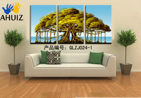 3ピースキャンバス壁アートツリーピクチャーキャンバス絵画グリーンツリー絵画大きな壁の写真リビングルームGLZJ024-1