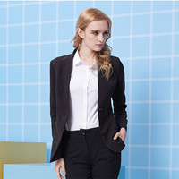 Custom made New Women Business suits Formal Office suits Black Work One Button Long Sleeve suits Jacket+Pants