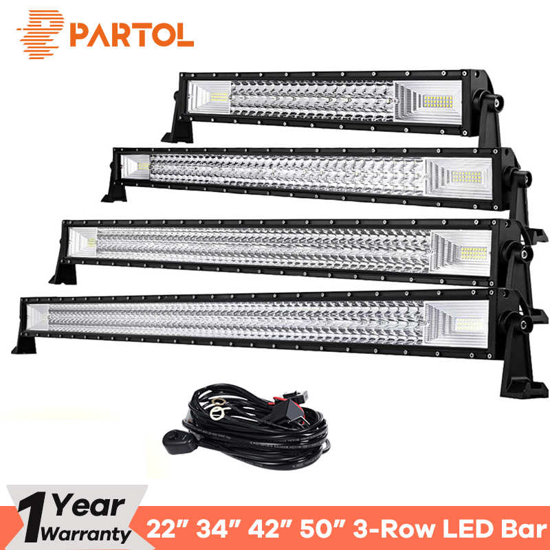 цена на Partol 22 34 42 50 Straight Curved Tri-Row LED Light Bar Combo Beam Offroad Work Light 4WD 4x4 LED Bar Camper Trailer ATV