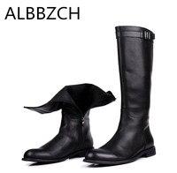 Новый натуральная кожа мужские ботинки поездка на всаднике высокие сапоги высокого качества из коровьей кожи Мужская мода карьеры рабочие