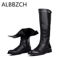 New genuine leather men boots riding equestrian high boots high quality cow leather mens fashion career work boots shoes botas