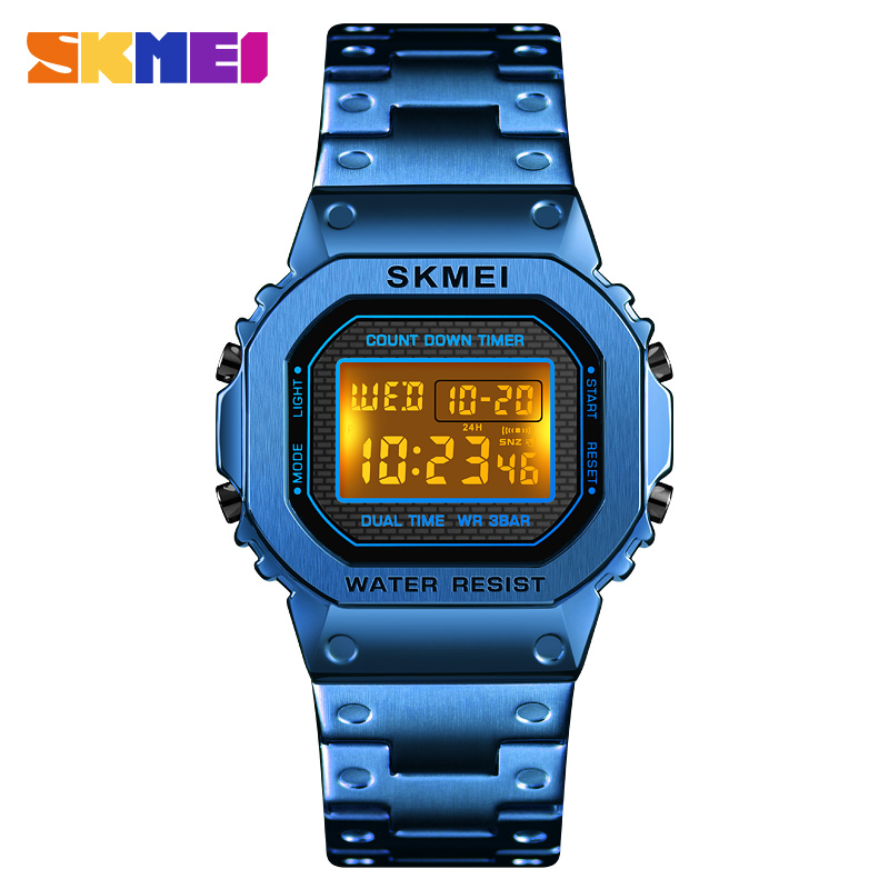 <font><b>skmei</b></font> <font><b>1456</b></font> Military Sports Watches Electronic Mens Watches Top Brand Luxury Male Clock Waterproof LED Digital Watch Relogio Male image
