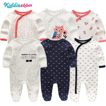 Śpioszki dla chłopców Infantil Roupa noworodka dziewczyny ubrania 100 miękka bawełniana piżama kombinezony długie Sheeve śpioszki dla niemowląt odzież dla niemowląt tanie i dobre opinie kiddiezoom COTTON Drukuj Unisex Pełna Baby Rompers RFL3115 Dziecko Pasuje prawda na wymiar weź swój normalny rozmiar