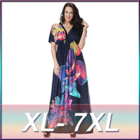 2016 Hot Sale Sexy V Collar Beach Style Large Maxi Dress Plus Size Soft Cotton Printed