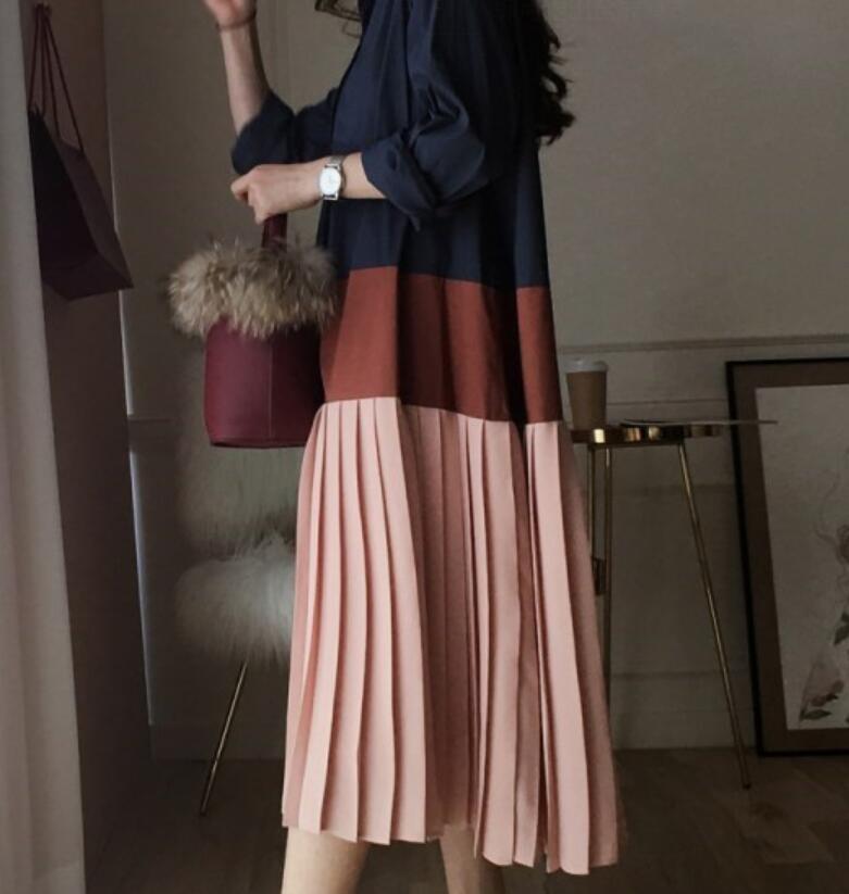 Женское платье с длинным рукавом SuperAen, повседневное Хлопковое платье в Корейском стиле, свободные платья из хлопка с плиссировкой на осень ...