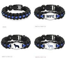 Изготовленный на заказ синий черный тонкий синий линия K9 собачий полицейский собачий патруль собачий ошейник из Паракорда выживания полиции жены мамы Открытый браслет