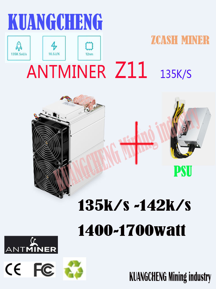 Kuangcheng  In Stock  Antminer Z11 135k Sol/s With BITMAIN PSU Equihash Miner Better Than Antminer Z9 S9 Innosilicon A9(China)