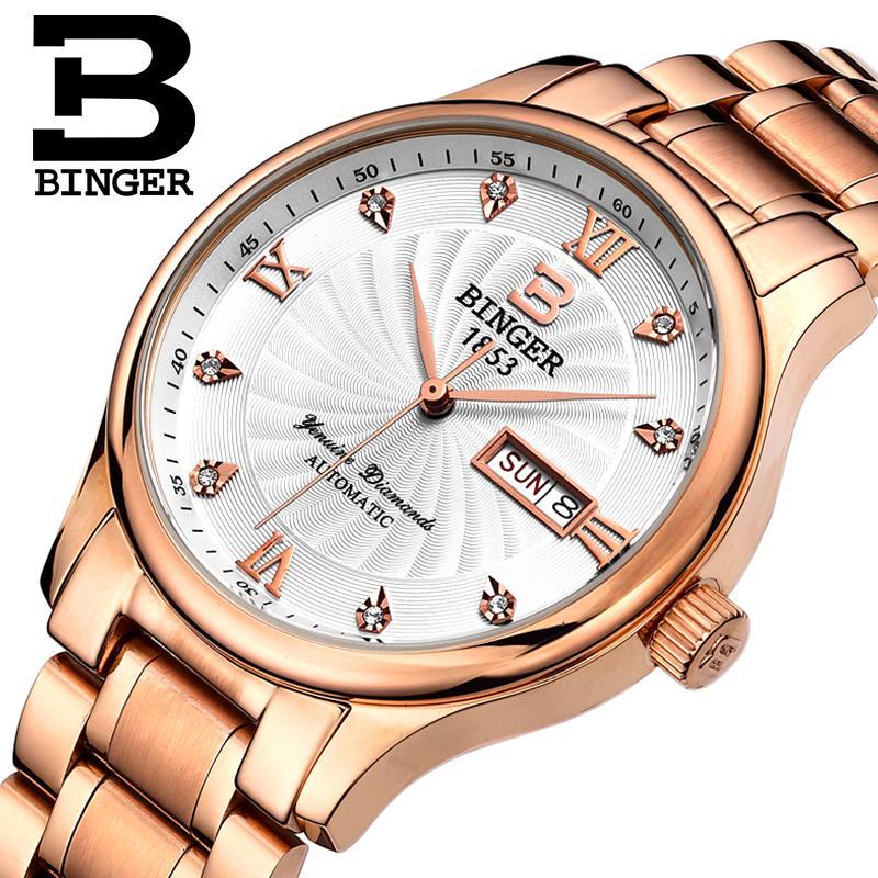 Switzerland men Wristwatches luxury brand watches BINGER luminous Quartz Wristwatches full stainless steel Waterproof B603B 6