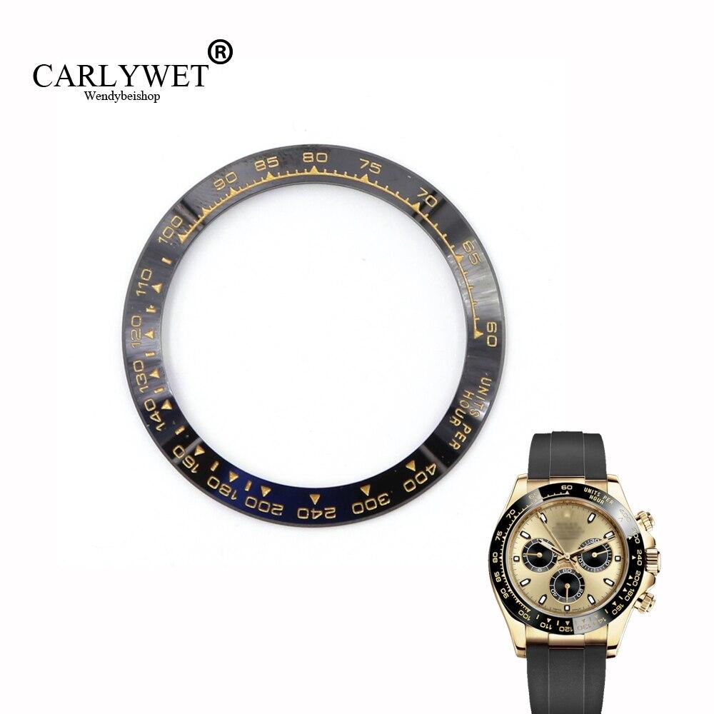 CARLYWET Atacado de Alta Qualidade de Cerâmica Moldura Relógio Preto com Ouro Escrevendo para Daytona 116500-116520
