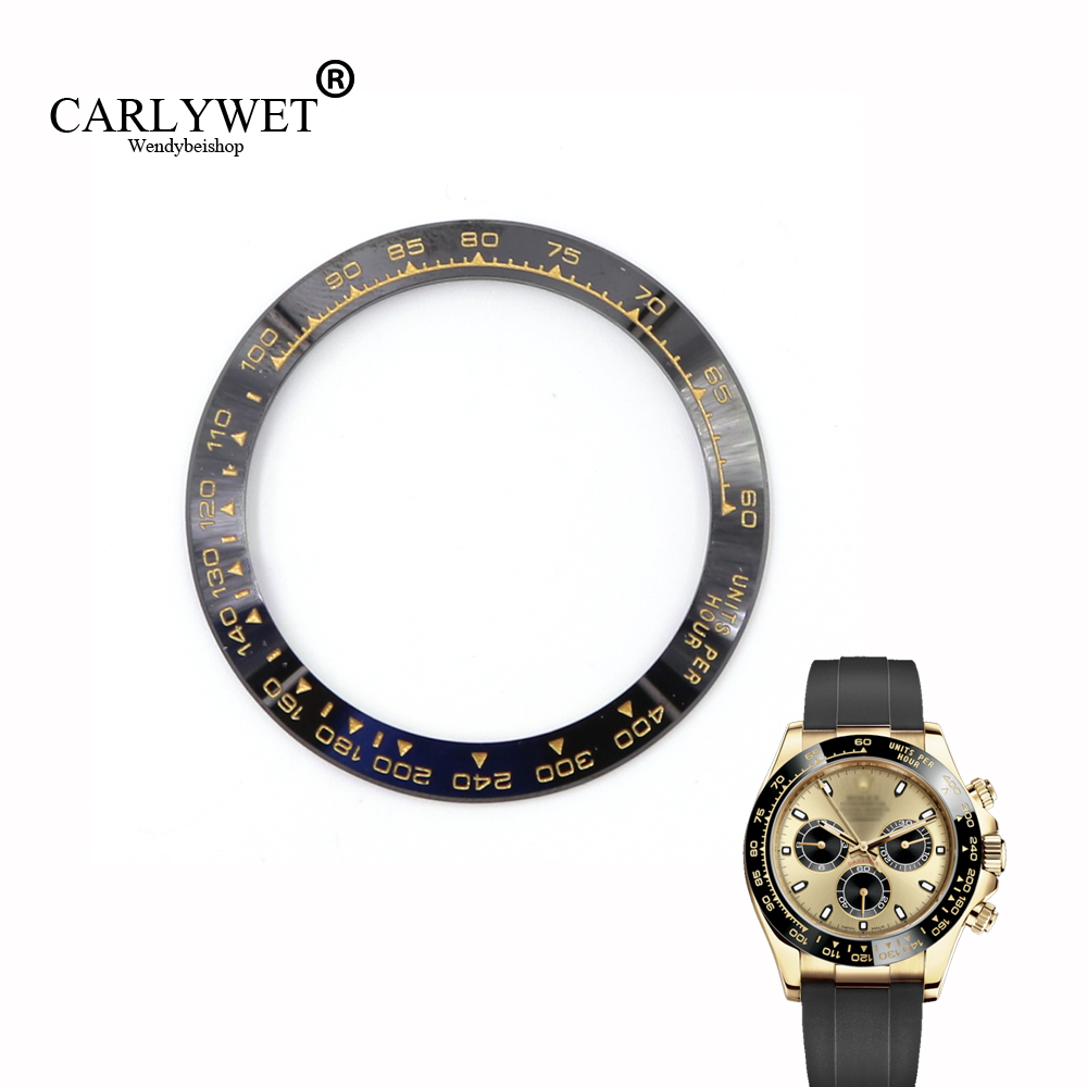 CARLYWET Wholesale High Quality Ceramic Black with Gold Writing Watch Bezel for Daytona 116500 - 116520