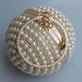 Drop Shipping Women's Round Ball Pearl Bag Pearl Beaded Diamond Tellurion Evening Bag Bridal Wedding Wrist Bag Clutch Purse