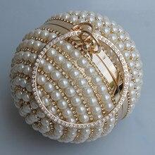 Drop Shipping Femmes de Ballon Rond Perle Sac Perle Perlée Diamant Tellurion de Soirée Sac De Mariée De Mariage Poignet Sac D'embrayage Bourse