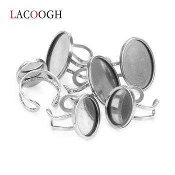 Stainless Steel 13X18 18X25mm Adjustable Ring Blank Cabochon Base Tray Flat Round Antique DIY Jewelry Findings Metal Rings