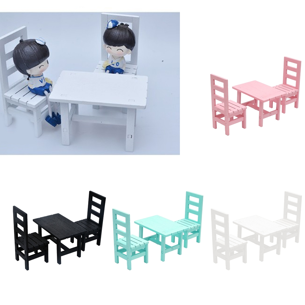 Miniature Wood Dining Table Chair Furniture Set for 1:6 Dollhouse Kids Pretend Play Toys