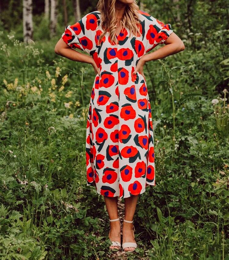 Vestido largo suelto con estampado de flores para mujer 2019 nuevo verano manga corta cuello pico dulce Midi-in Vestidos from Ropa de mujer    2