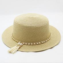 2019 Women Summer Fedoras Hat Beach Straw Panama Ladies Cap Fashionable Handmade Casual Flat Brim Sun Hats for Church