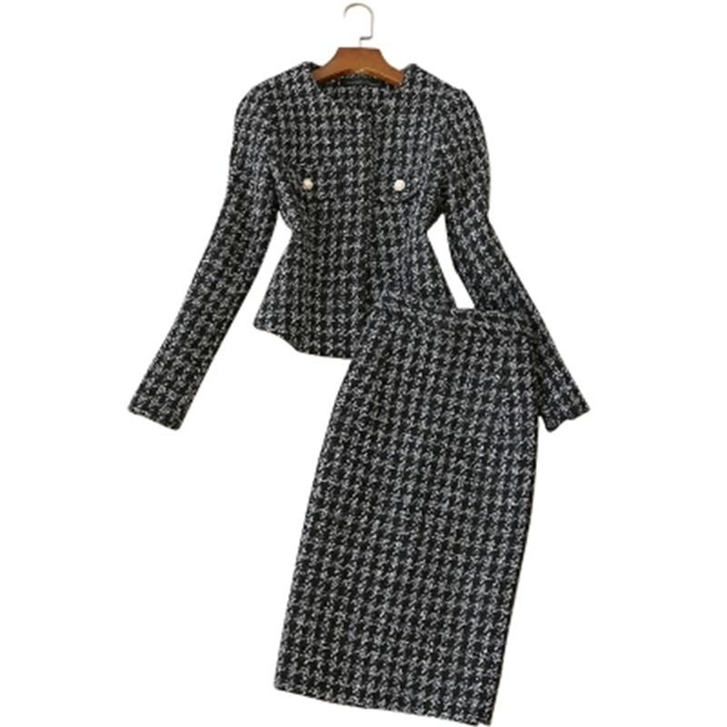 46b795da6e Moda Xadrez terno terno profissional das mulheres Outono Novas mulheres do sexo  feminino casaco + saia dois conjuntos de cintura alta de lã áspera das ...