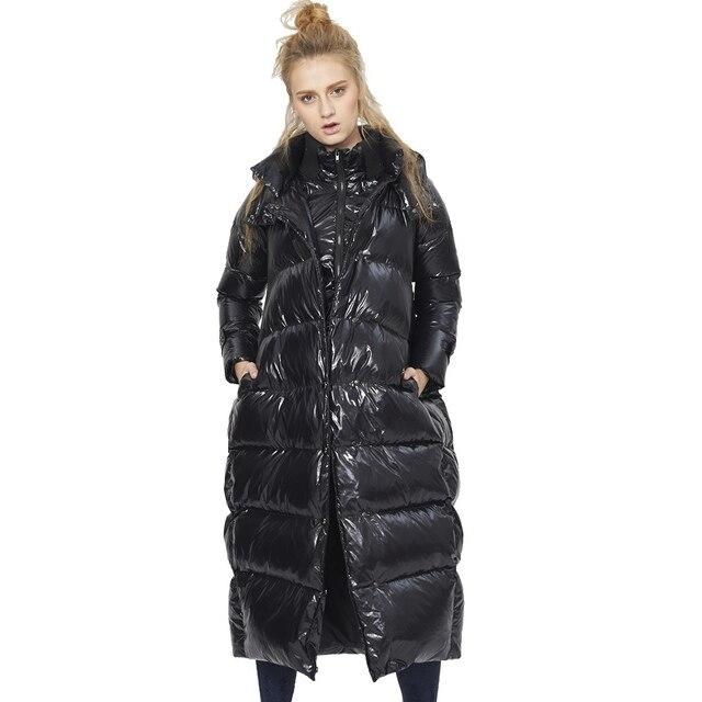 2018 г. зимние женские Ложные twinset увеличить код мода пуховая куртка зимние длинные свободные утепленный пуховик для женщин PMM1018