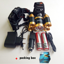 z60R10 T6+XPE LED Head Lamp 16000lm Zoomable Headlamp 5leds Headlight Tube Torch LED Flashlight+Car Charger+18650 Batteries