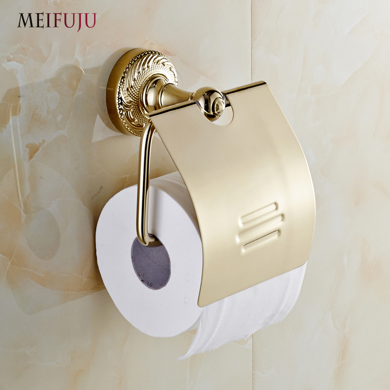 MEIFUJU New Luxury Wall Mounted Bathroom accessories Gold Brass carving Toilet roll Paper Holder With Cover Paper Roll Holder luxury golden color toilet paper holder wall mounted roll toilet paper rack with cover bathroom accessories free shipping 3308