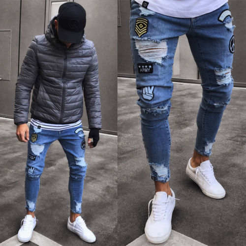 7e55626d6fe Online Shop 2018 New Fashion Blue Hole Jeans Mens Ripped Skinny Biker Jeans  Destroyed Frayed Slim Fit Denim Pants Biker Jean Plus Size S-2XL