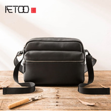 AETOO Casual Genuine Leather Men Messenger Bags With Zipper Pocket High Quality Shoulder Bag For Male Soft Crossbody