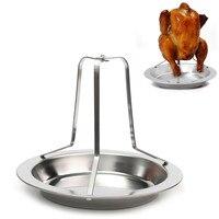 Stainless Steel Chicken Holder Pan Upright Beer Roaster Rack Silver Baking Pan Grilled Roast Rack For