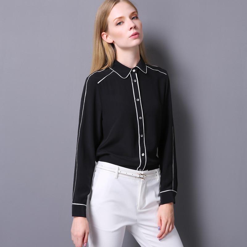 100% Crêpe De Soie Chemise Pur Crêpe De Soie Blouses Femmes Shirts Office Lady Chemises Nouveau Printemps et D'été Style