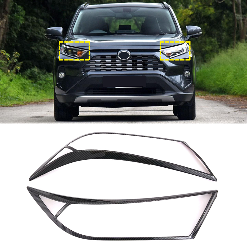 Auto Accessories ABS Front HeadLight Lamp Eyelind Decoration Cover Trim  2pcs  for Toyota RAV4 2019 2020-in Roof Racks & Boxes from Automobiles & Motorcycles