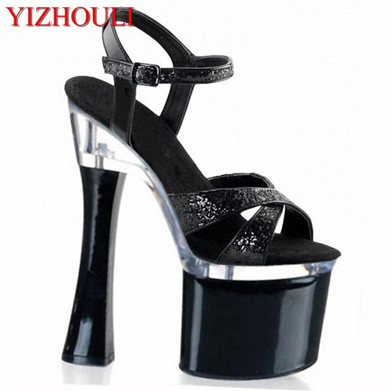 Magnifique argent paillettes talons plate-forme pole chaussures de danse 18 cm talons hauts chaussures de danse femmes chaussures de mariage
