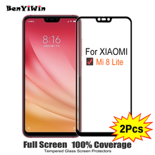2PCS Full Cover Screen Protector Tempered Glass For Xiaomi mi8 Lite 6.26″ 9H Protective glass For xiaomi MI8 Mi 8 Lite Film Case
