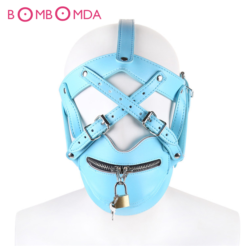 Mouth Gag Sexy Mask Adult Games Zipper Lock Hood Leather Bondage Restraints Headgear Hood Mask Cover