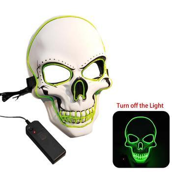 EL máscara brillante Horror fantasma cabeza luminosa máscara fluorescente disfraz fiesta Cosplay actuaciones Halloween fiesta decoración máscara