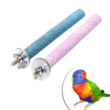 1Pc 1.5x14cm Colorful Pet Bird Parrot Chew Paw Grinding Toys Harness Cage Accessories Birds Budgie Toy Random Color C42(China)