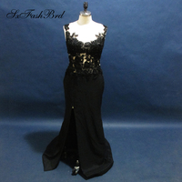 Real Photos Elegant Evening Dresses Lace Beaded Mermaid Black Formal Gowns Dresses for Women