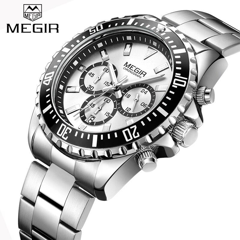 New MEGIR Watches Mens Top Luxury Brand Steel Strap Quartz Wristwatch Men Military Army Sport Clock